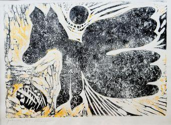 13. Sohn des Pegasus, Linolschnitt 25 x 33 cm