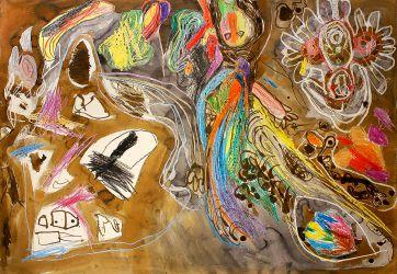 16. Im Garten des Lebens Ölkreide, Beizen mit Kindern, 70 x 100 cm