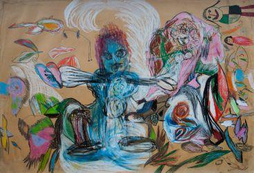 14. Der Tod und das Mädchen, Pastell, Farbstift, Ölwachskreide mit Kindern, 70 x 100 cm