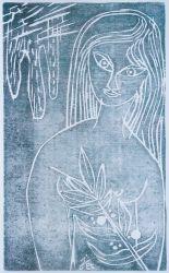 10. Mädchen, Holzschnitt braun/schwarz 50 x 30 cm