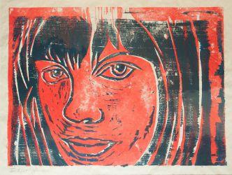 7. Junge Frau, Holzschnitt rot/blau 33 x 45 cm