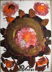 15. Blume (Kind allein) Pigmente mit Leim, 100 x 70 cm (unverkäuflich)